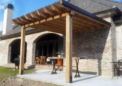 12 x 14 Cypress Patio Cover Slab, 6 x 6 Cypress Column Beams