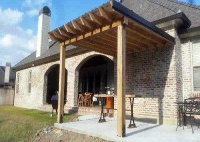 12 x 14 Cypress Patio Cover Slab • 6 x 6 Cypress Columns Beam