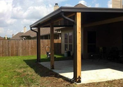 12 x 20 Flat Pan Patio Cover with Cypress Post Beam with Fleur-De-Dis Bracket