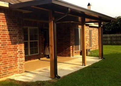 8 x 20 Flat Pan Patio Cover with Cypress Post Beams